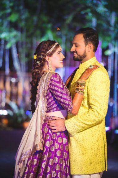 indian couple photography ideas | groom in perfect neon green sherwani