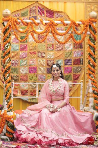 bridal mehendi seat   Modern Customised Lehenga Embroidery