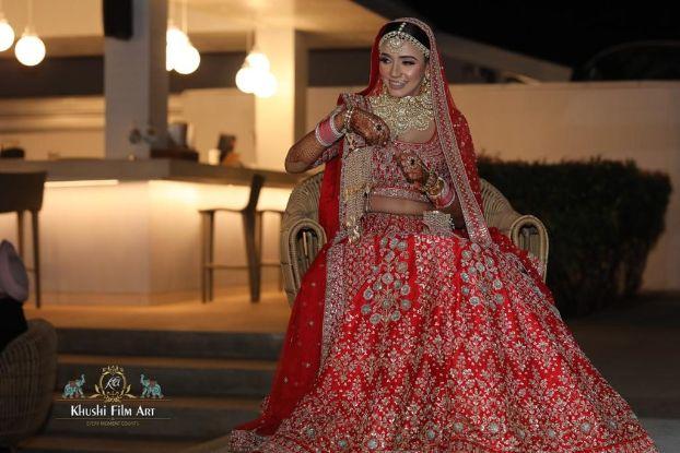 indian  bridal red lehenga | Bride in Anita Dongre Lehenga