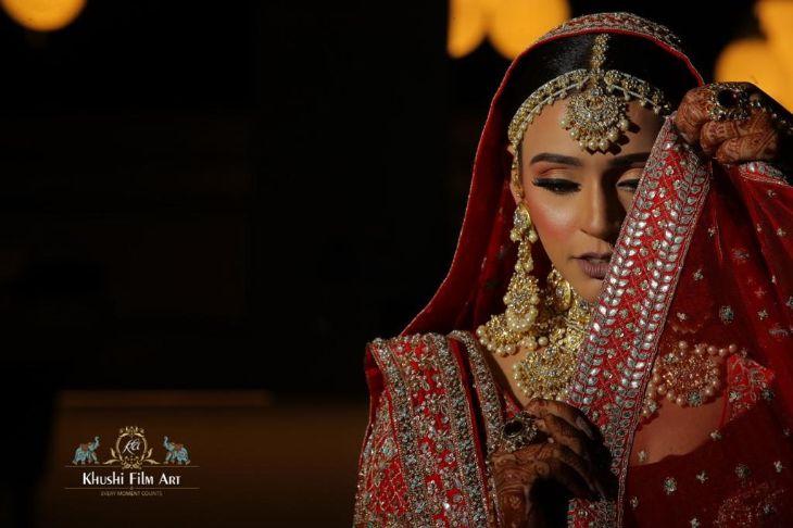 indian bridal jewellery ideas | Bride in Anita Dongre Lehenga