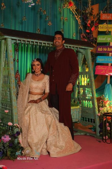 indian couple on sangeet day