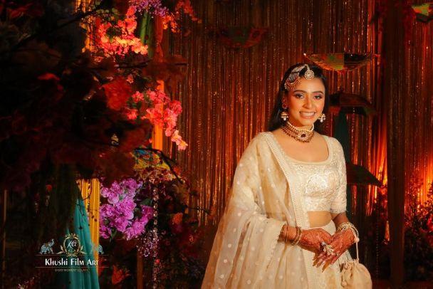 indian bride in beautiful ivory lehenga