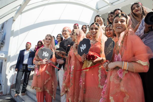 indian bridesnaids in matching outfits   Cutest Surprise Proposal Ideas