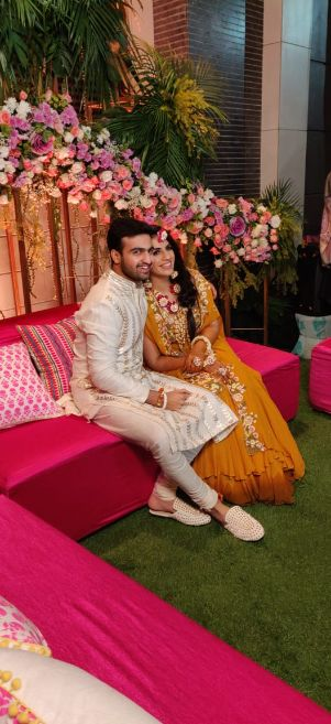 indian couple at their mehendi ceremony