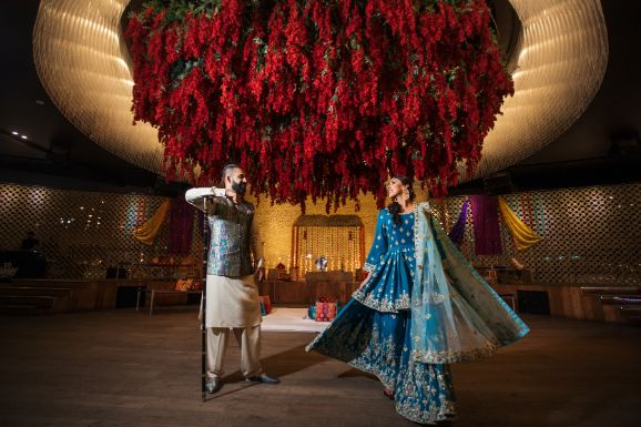 sangeet ceremony   stunning decor for an Indian wedding