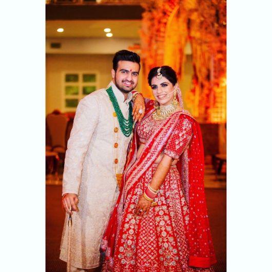 bride and groom photo | Anita Dongre Wedding Lehenga