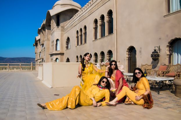 brides in matching yellow color | photo shoot