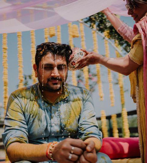 groom haldi ceremony | sky blue shimmer kurta for the groom