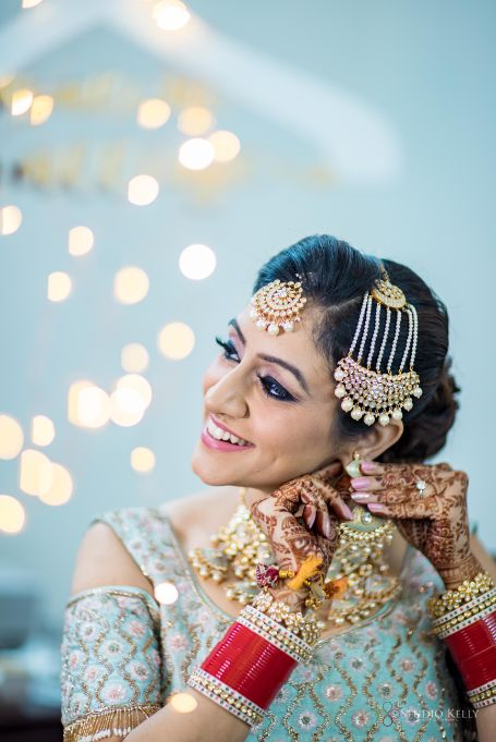 indian bridal wedding jewellery | Pastel Wedding with a Stunning Reception Look