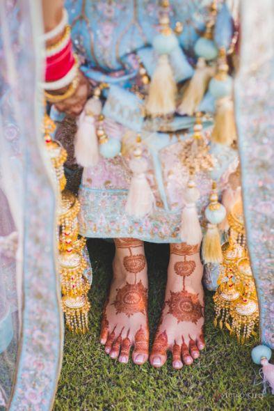 bridal foot henna | indian wedding | Pastel Wedding with a Stunning Reception Look