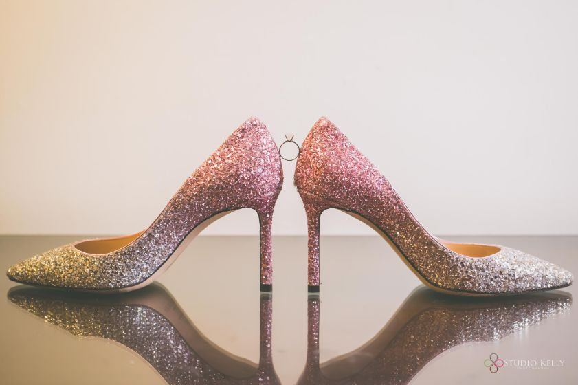 jimmy choo shoes for the bride on wedding day | Pastel Wedding with a Stunning Reception Look