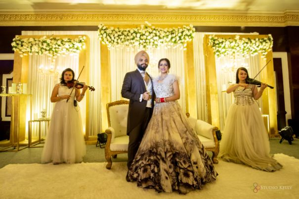 bride and groom | indian wedding functions | Stunning Reception Look