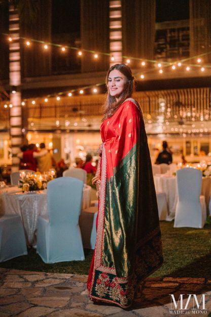 bride in Sabyasachi saree