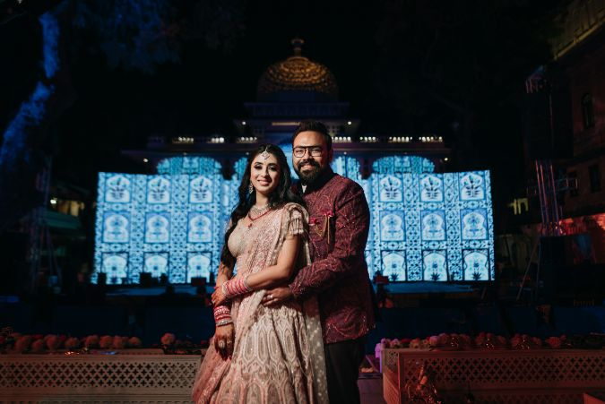 indian couple in beautiful outfit of sangeet day | Destination Wedding in Udaipur