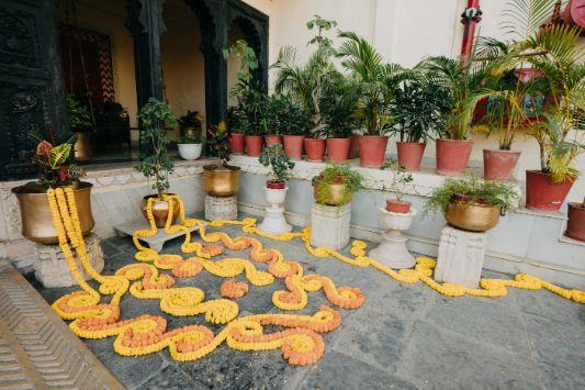 haldi decor with marigoldf flowers