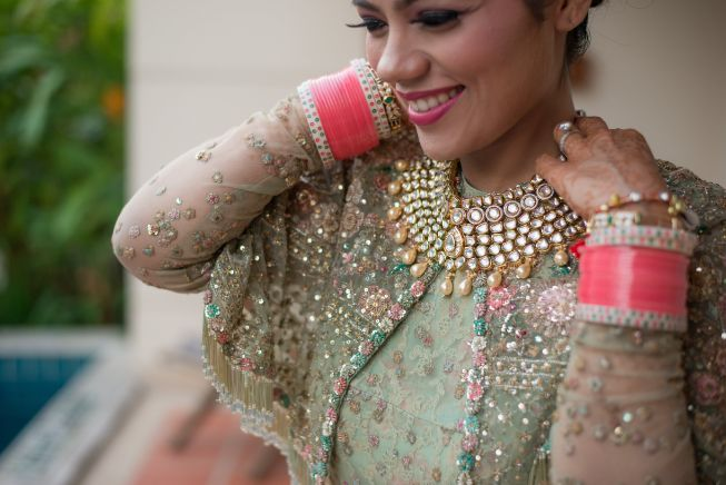 pink chooda | indian bridal jewellery | Beach Wedding in Hua Hin