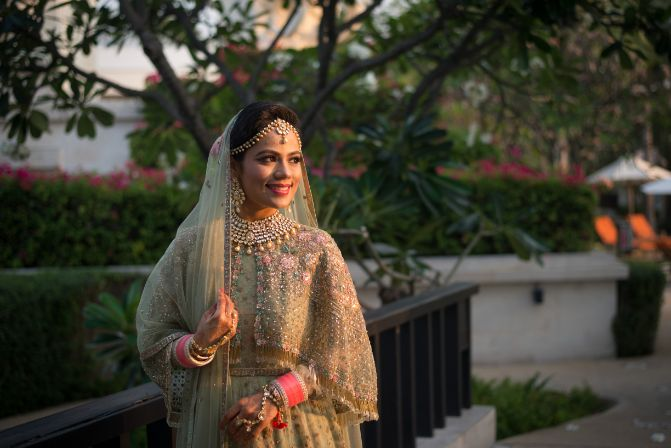 indian bride | beautiful pastel green lehenga | Beach Wedding in Hua Hin