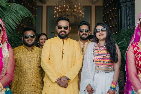 groom in yellow kurta on haldi ceremony day