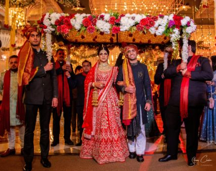 bridal entry ideas | bride entering with her brother | Anita Dongre Wedding Lehenga