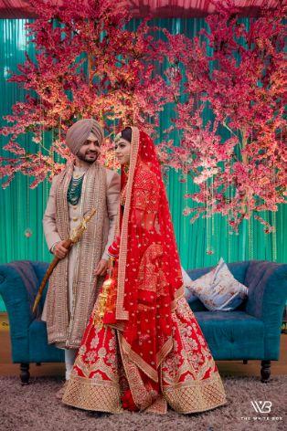 stunning red sabyasachi lehenga for the bride