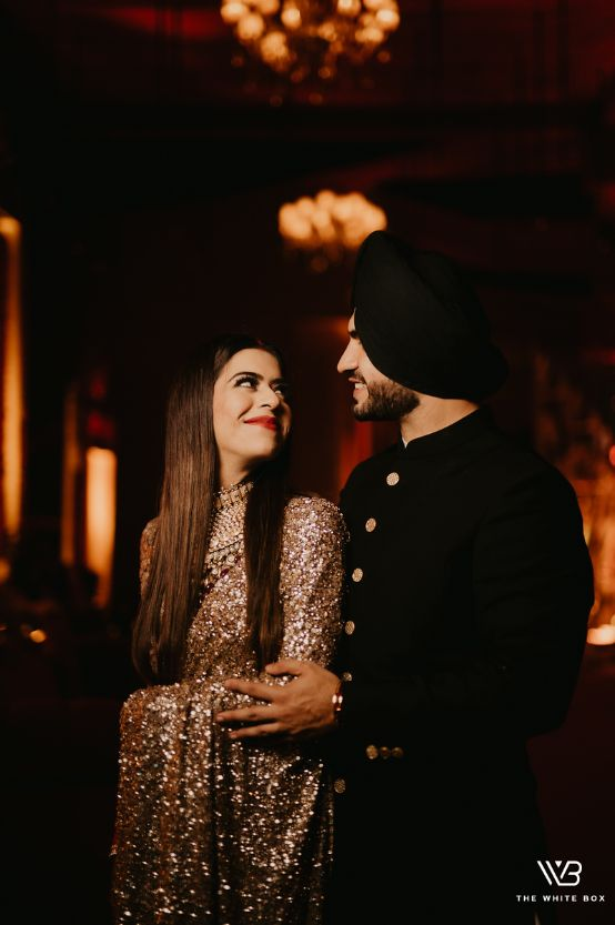 candia photos | sikh couple | indian wedding | Sabyasachi Saree in Gold Sequins