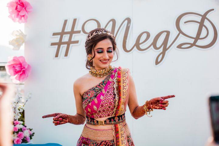 bridal blouse style | belt fahion | Printed Lehenga  & a Gorgeous Off Shoulder Blouse - Megnha & Devansh
