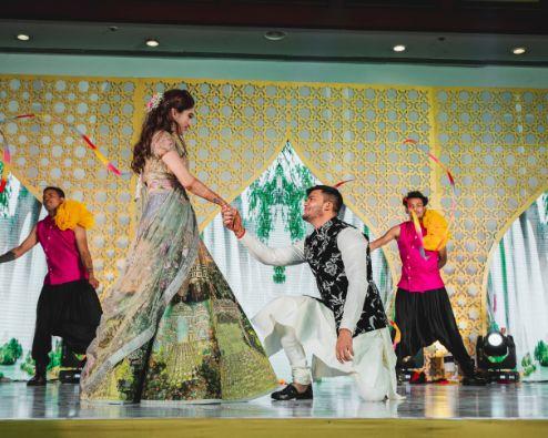 sangeet ceremony   sangeet dance   Printed Lehenga  & a Gorgeous Off Shoulder Blouse - Megnha & Devansh