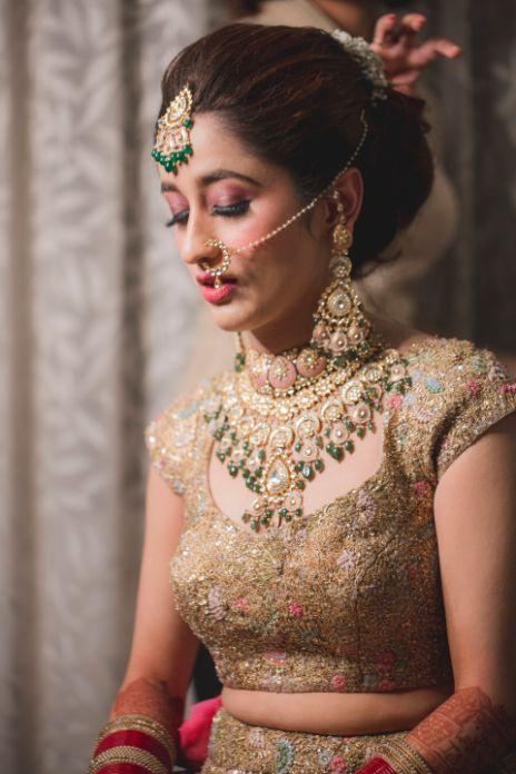 stunning indian bridal jewellery   golden lehenga for the bride