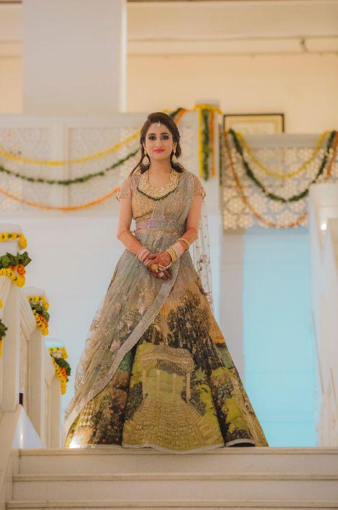 stunning bridal outfit   printed lehenga   Printed Lehenga  & a Gorgeous Off Shoulder Blouse - Megnha & Devansh
