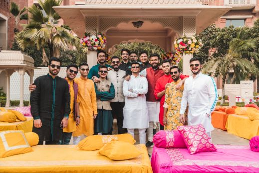 squad photos at indian weddings   Printed Lehenga  & a Gorgeous Off Shoulder Blouse - Megnha & Devansh
