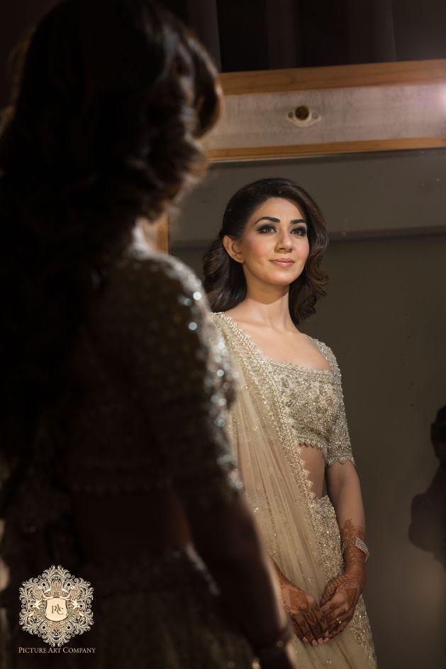 indian wedding photography ideas | Mirror Work Lehenga for Mehendi