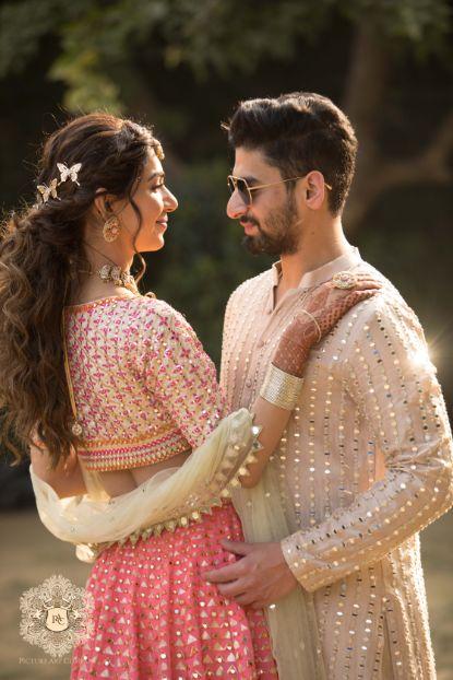 stunning indian couple photo ideas   Mirror Work Lehenga for Mehendi