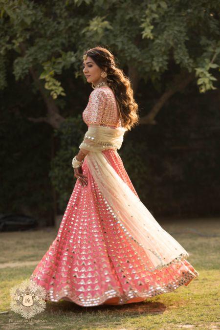 stunning mirror work suit for mehendi ceremony | Mirror Work Lehenga for Mehendi