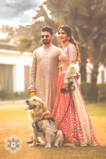 indian couple photos with pet | Mirror Work Lehenga for Mehendi