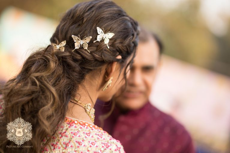 indian bridal hair accessories | Mirror Work Lehenga for Mehendi