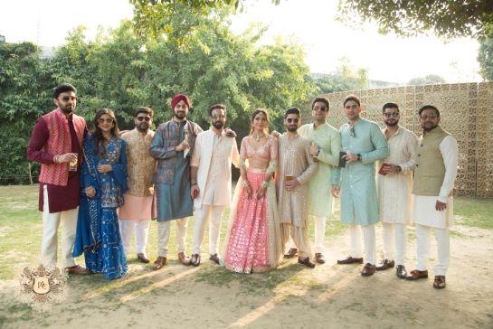 squad photo ideas from indian weddings   Mirror Work Lehenga for Mehendi