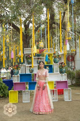 stunning decor | mehendi ceremony | Mirror Work Lehenga for Mehendi