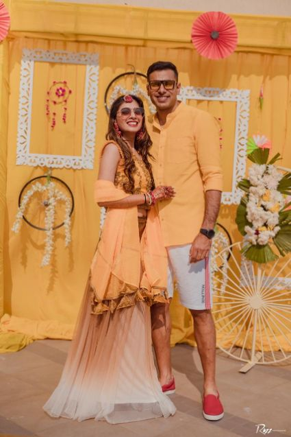 haldi outfit for the bride and groom | Haldi Ceremony with A Pool Party Theme