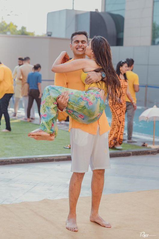 haldi ceremony | candid captures | Haldi Ceremony with A Pool Party Theme