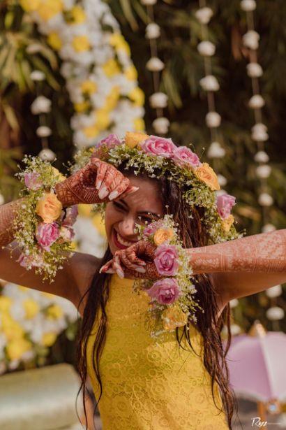 floarl jewellery   haldi ceremony   Haldi Ceremony with A Pool Party Theme
