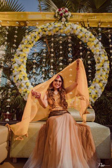 haldi day   celebration   bridal seat   decor goals   Haldi Ceremony with A Pool Party Theme