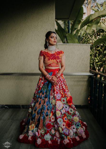 bridal customized outfit | Stunning Colourful Wedding Lehenga
