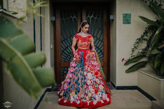 bridal lehenga details | floers and peacock designn | Stunning Colourful Wedding Lehenga