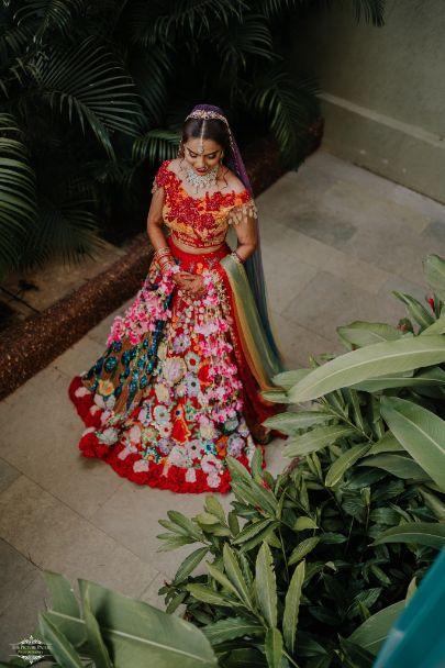 stunning bridal lehenga with peacock design | Stunning Colourful Wedding Lehenga