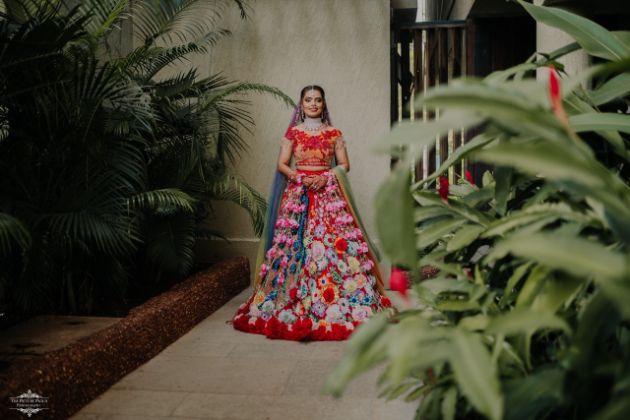 bridal photo shoot | indian bridal look | Stunning Colourful Wedding Lehenga - Beautiful Goa Wedding