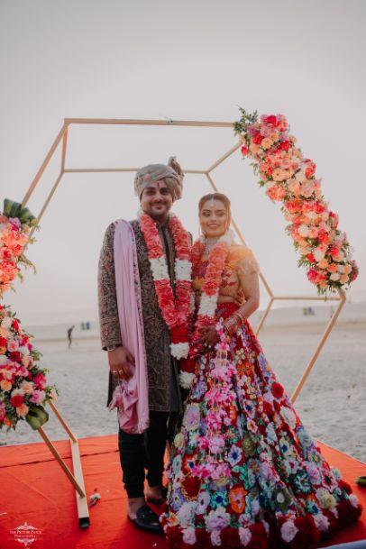 varmala ceremony | indian bride | Stunning Colourful Wedding Lehenga - Beautiful Goa Wedding