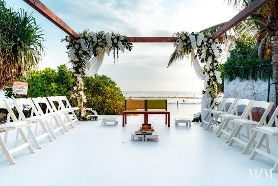 stunning white mandap decor | Beach Wedding in Sri Lanka