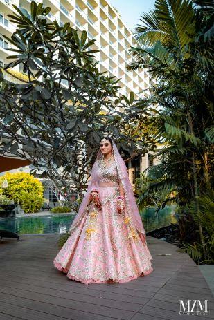 bride in pastel pink lehenga for her big day | Beach Wedding in Sri Lanka