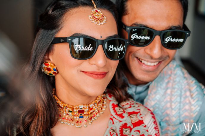 personalised shades for the bride and groom