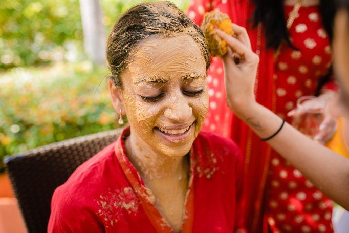 haldi ceremony of an indian bride